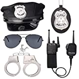 Beelittle Police Officer Role Play Kit Police Hat Handcuffs Walkie Talkies Policeman Badge Sunglasses Police Costume Accessories for Cop Swat FBI Halloween Party Dress up (B)