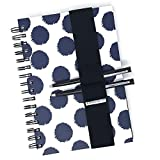 """Black Elastic Band Pen Holder for 6""""x9"""" Notebook, Journal or Planner- 2 Pen/Pencil Loops, 1 1/2 inch Wide Thick Premium Elastic. (Black Small 6x9"""