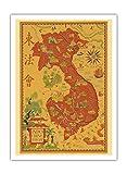 Pacifica Island Art Francés de Indochina–Vietnam, Camboya, Laos–Vintage Retro Vuelo Sociedad de Lucien Póster De Viaje Boucher c.1938–Impresión (, 30.5cm x 41cm Premium Giclée