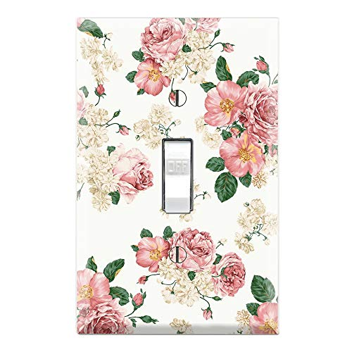 Graphics Wallplates - Pink White Flower Pattern - Single Toggle Wall Plate Cover