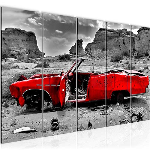 Bilder Auto Grand Canyon Wandbild 150 x 60 cm Vlies - Leinwand Bild XXL Format Wandbilder Wohnzimmer Wohnung Deko Kunstdrucke Rot 5 Teilig - MADE IN GERMANY - Fertig zum Aufhängen 602256a