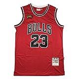 CLKI Camiseta de baloncesto de Michael Jordan con logotipo de la final, Bulls clásico retro swingman jerseys, cómoda sudadera roja A-L