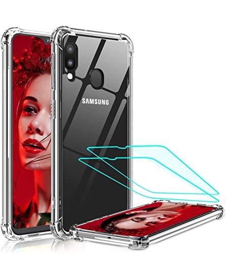 LeYi für Samsung Galaxy M20 Hülle mit Panzerglas Schutzfolie(2 Stück), Neu Transparent Cover Hard PC Air Cushion Bumper Schutzhülle Handy Hüllen für Case Samsung Galaxy M20 Handyhülle Crystal Clear