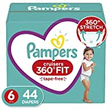 Diapers Size 6, 44 Count - Pampers Pull On Cruisers 360° Fit Disposable Baby Diapers with Stretchy Waistband, Super Pack (Packaging May Vary)