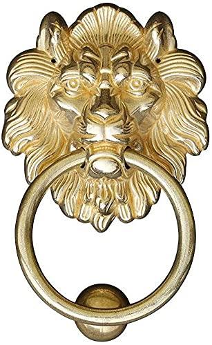 HAOJON Llamador de puerta rústico, anticorrosivo de latón con cabeza de león vintage, ideal para solariega Villa Hotel-tono dorado 12 x 18 cm