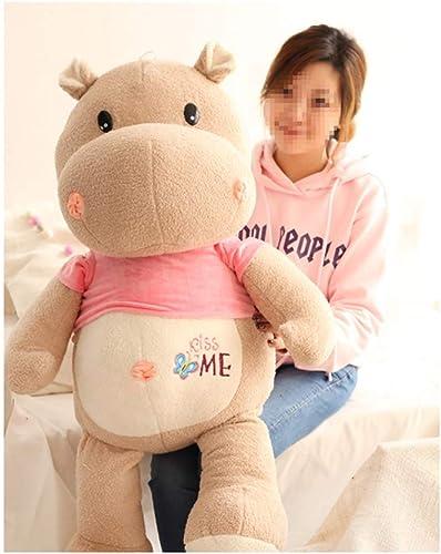 IIWOJ Animal Plush Doll, Soft Big Simulation Hippo Kissen-Kindergeschenk-Home-Accessoires,braun2,105cm