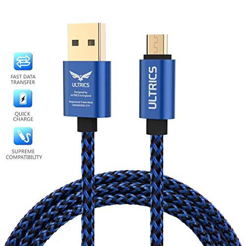ULTRICS Cable Micro USB 30CM, Trenzado Nylon Carga Rápida y Datos Sincro Android Cargador Cable Compatible con Samsung Galaxy S6/ S7 Edge, Nokia, PS4, Xbox One, Smartphones, Tabletas y más - Azul
