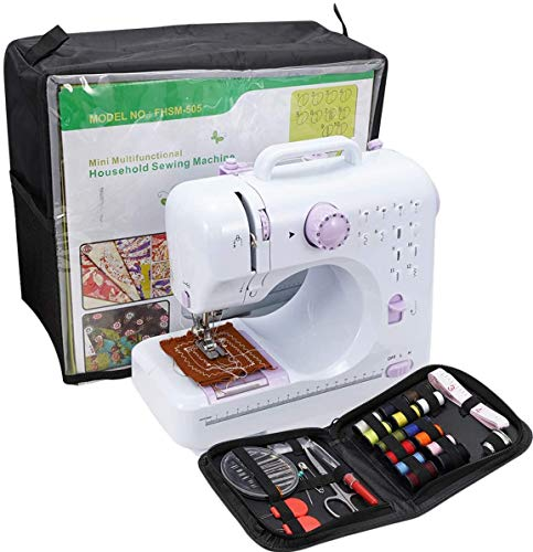 Mini Sewing Machine For Beginner Small Heavy Duty Sewing Machine Portable For Kids Light Weight Kids Sewing Machine Easy to Use With Bobbins Needles And Pedal 2 Speeds Double Treads 12 Built-In Snitches.