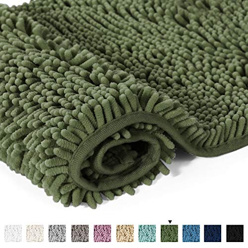 20x32 Inch Loden Bath Mat Soft Shaggy Bathroom Rugs Non-Slip Chenille Plush Rugs Luxury Microfiber Washable Bath Rug for Floor Bathroom Bedroom Living Room