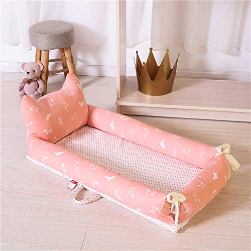 XDKS Baby Nest,Baby Nest Pod,Baby Nest for Newborn and Babies,Baby Nest for Bedroom Baby Lounger for Bed,100% Soft Cotton Cosleeping Baby Bed for Bedroom (2 Pieces,Pink Dot Dog)