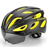 WEZER OTY Casco de Bicicleta con Visera de Protección, Casco de Ciclo Protegido Unisex para Andar en Bicicleta al Aire Libre Ajustable Superligero,Amarillo