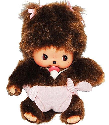alles-meine.de GmbH Bebichhichi Baby mit rosa / Pinker - Windel und Schnuller - mit 2 Zöpfen - Monchichi klein 14,5 cm Mädchen mit Schleife - Hose Monchhichi zur Geburt Neugebore..