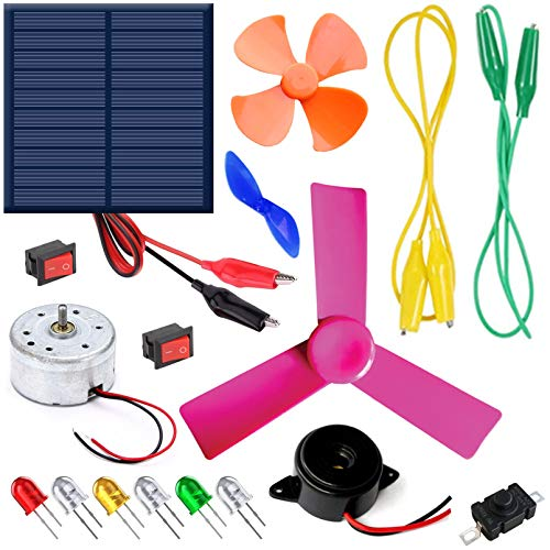 Kit4Curious® Solar DIY Project Learning Beginner kit with Easy Connection Leads, Motor, Light, Fan, Buzzer etc with Instruction Manual