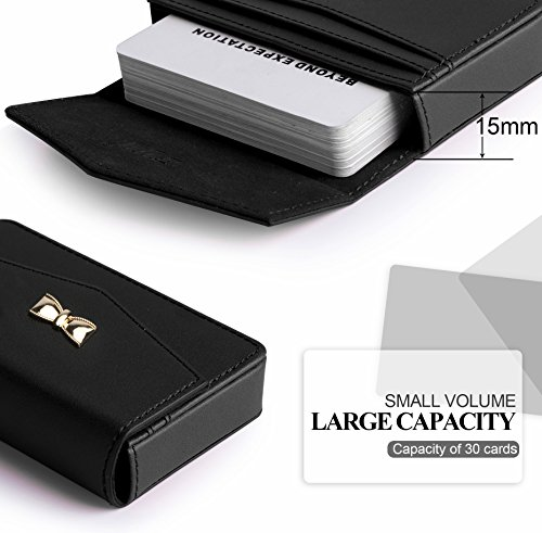 FYY Business Card Holder, Handmade Premium Leather Business Name Card Case Universal Card Holder with Magnetic Closure (Hold 30 pics of Cards) Black Photo #3