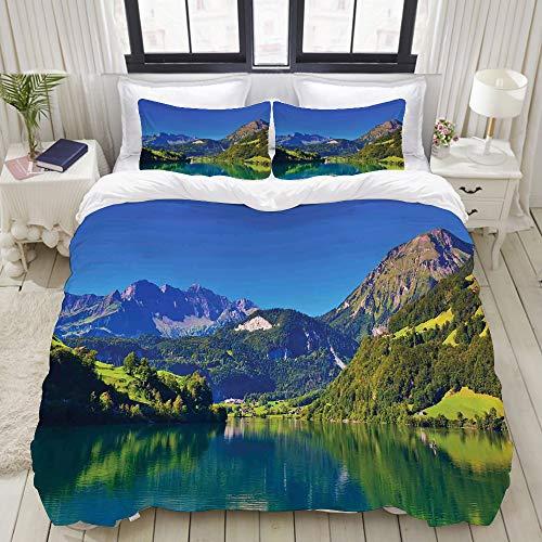 MOBEITI Bedding Bettwäsche-Set,Schweizer Alpen-Berg & Wiesenwald mit ruhigem See auch kleines altes Village,Mikrofaser Bettbezug & Kissenbezug - (135 x 200 cm)