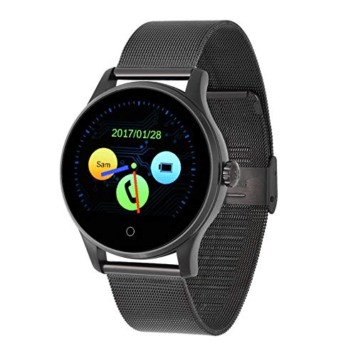 Naroote Bluetooth Smart Watch,Cardiofrequenzimetro Cardiofrequenzimetro Intelligente del Braccialetto di K88H Bluetooth Impermeabile Anti-Perso(Metal Strap-Nero)