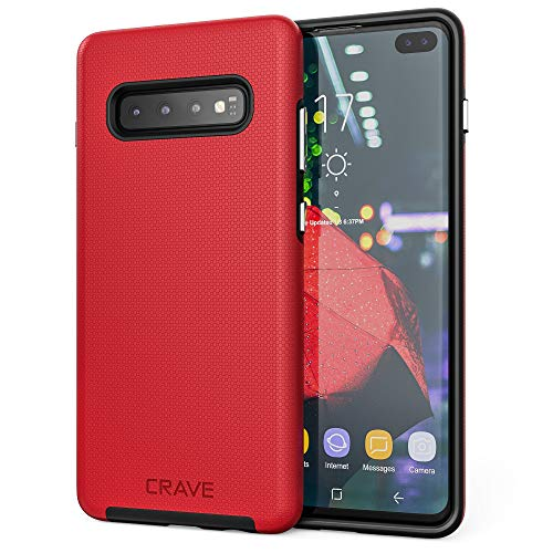 Crave Dual Guard for Galaxy S10+ Case, Shockproof Protection Dual Layer Case for Samsung Galaxy S10+, S10 Plus (6.4 inch) - Red