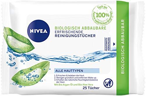 NIVEA Biologisch abbaubare erfrischende Reinigungstücher für alle Hauttypen, 25 Tücher