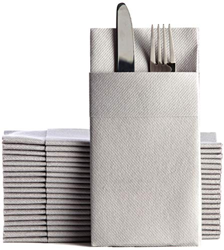 Gray Dinner Napkins Cloth Like with Built-in Flatware Pocket, Linen-Feel Absorbent Disposable Paper Hand Napkins for Kitchen, Bathroom, Parties, Weddings, Dinners or Events, 16x16 inches, Pack of 50
