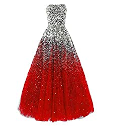 Red Long Dress with Rhinestones