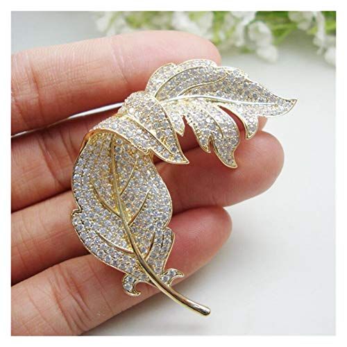 DWSLY Broche de Moda Transparente Tono de circón Cristal de la Hoja Floral de Oro de joyería Broche Moda de Las Mujeres para Damas Regalos navideños (Color : Gold)