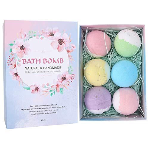 Bath Bombs Gift Set 6pcs, Body Moisturize Fizzy Bubble Bath Bombs Aceites esenciales naturales orgánicos relaja e hidrata la piel Aceite esencial exfoliante Anti picazón Regalos para niños Mamá Novia