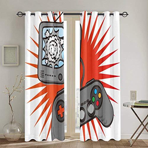 MAYUES Cortinas Opacas Diseño temático de Videojuegos en Estilo Retro Consola Gamepad Entretenimiento,con Aislamiento térmico,2 Panel 130cmX180cm