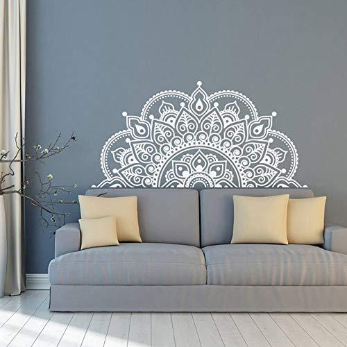 TELEGLO Wandtattoo Mandala, halbes Mandala, Vinyl Wandaufkleber, Yoga Geschenkideen, Hauptschlafzimmer, Kopfteil Art Pattern Deco 57x116cm