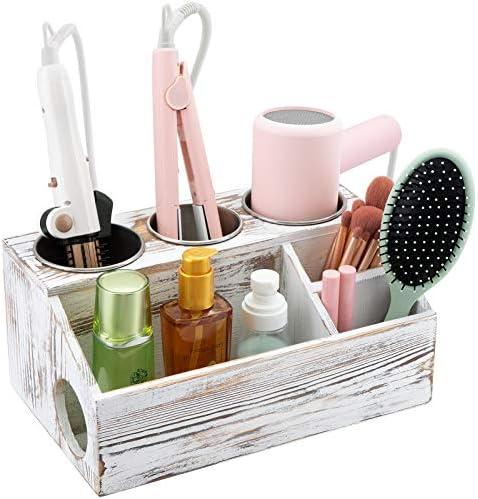 Tukuos Wooden Hair Tool Organizer Blow Dryer Holder Vintage Bathroom Organizer Countertop for product image