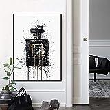 N/A Impresión 3D De La Pintura De La Lona Arte Abstracto Moderno Lienzo Pintura Cartel De Pared E Impresiones Abstractas Imágenes De Botellas De Perfume Negro para La Decoración del Hogar