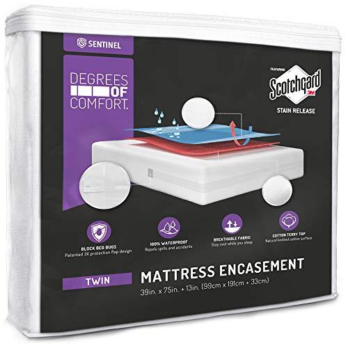 Degrees of Comfort - cubre colchon individual impermeable con cierre - Funda transpirable para colchón contra chinches con diseño patentado avanzado de solapa de cierre - 3M...