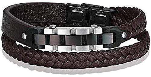 Collar Cadena de bicicleta con combinación de cierres de palanca Pulsera de cuero genuino de acero inoxidable para hombres Cadena de cuerda marrón para regalo Pulsera de cuero Pulseras de cuero para h