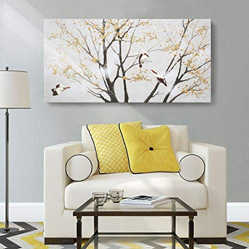 Wall Art for Living Room Tree Bird Canvas Print with Handmade Abstract Splatter Gold