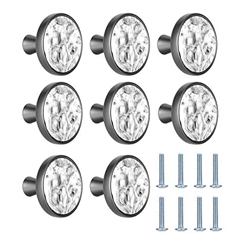 HighlyKing 8 Pomelli per Cassetti, Pomelli per Mobili, in Lega di Zinco da 32 mm, in Marmo, per Armadio, Maniglie per Mobili con Marmorizzazione (8 pezzi, opaco)