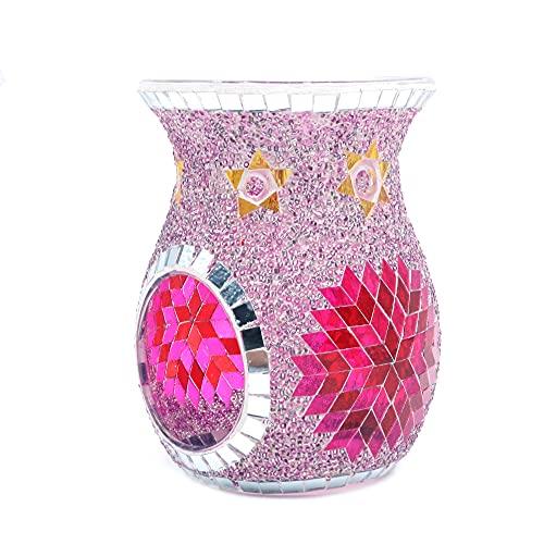 ANCLLO Estilo étnico Sun Flower Mosaic Candelabro de cristal, mesa centro de mesa para decoración del hogar boda (púrpura)