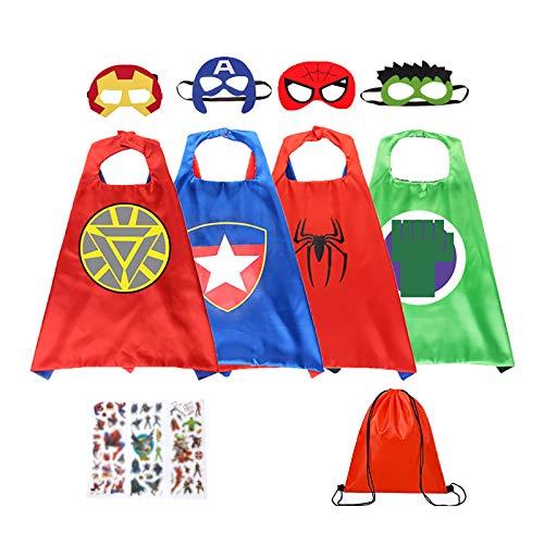GREAHWD Mantelle da Supereroe per Bambini Giocattoli per Bambini di 3-9 Anni Regali per Bambini Costumi da Supereroe (4 Pezzi)
