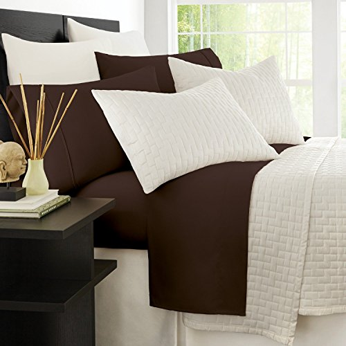 Zen Bamboo 1800 Series Luxury Bed Sheets - Eco-Friendly, Hypoallergenic and Wrinkle Resistant Rayon Derived from Bamboo - 4-Piece - Queen - Brown