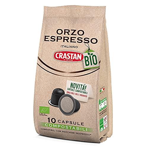 Crastan Capsule Compostabili Compatibili Nespresso - Orzo Biologico - 10 Confezioni Da 10 Capsule [100 Capsule]