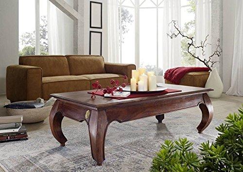 MASSIVMOEBEL24.DE Table Basse 135x70cm - Bois Massif d'acacia laqué - Inspiration Ethnique-Coloniale - Opium #616