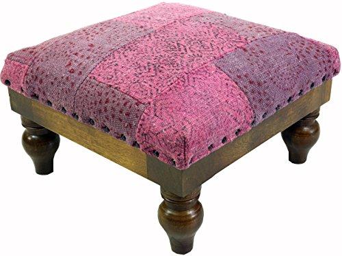 Guru-Shop Arabisch- Marokkanischer Kelim Boden Hocker, Orientalischer Sitz mit Holzgestell, Runde Beine - Pink/lila, Rosa, 25x40x40 cm, Sitzmöbel