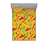 Lunarable Mexican Fitted Sheet & Pillow Sham Set, Elements Cactus Hat and Chili Pepper Pattern Over Grunge Background Print, Decorative Printed 3 Piece Bedding Decor Set, Queen, Dark Yellow