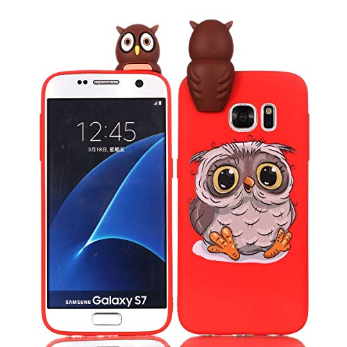 LAXIN Cute owl Case for Samsung Galaxy S7,Soft 3D Silicone Case,Cute Fruit Rubber Cover,Cool Kawaii Cartoon Gel Cover for Kids Girls Boys Men Woman Fun Soft Silicone Shell