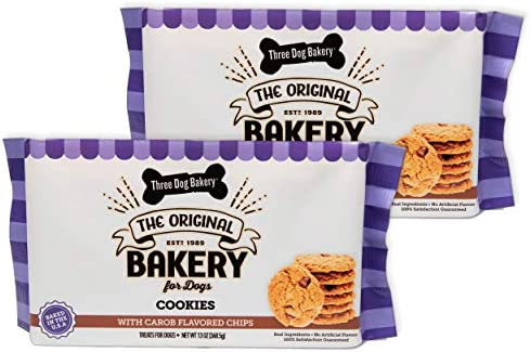 Three Dog Bakery Cookies with Carob Flavored Chips Premium Treats for Dogs 13 Ounce Package product image