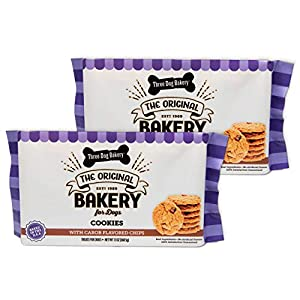 Three Dog Bakery Cookies with Carob Flavored Chips, Premium Treats for Dogs, 13 Ounce Package, 2-Pack (114041)