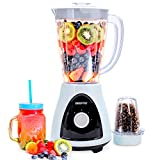 Geepas 400W 2 in 1 Food Jug Blender with 1.5L BPA Free Jar | 4 Sharp Stainless-Steel Blades with 2 Speed | Small Mill, Coffee/Spice Grinder Included | Smoothie Milkshake Maker | 2 Year Warranty