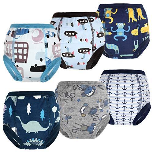 FLYISH DIRECT Mutandine Apprendimento per Bambino per Ragazzi Mutandine di Apprendimento Pantaloni da vasino per Bambini Cotone Assorbente Confezione da 6 4 Anni