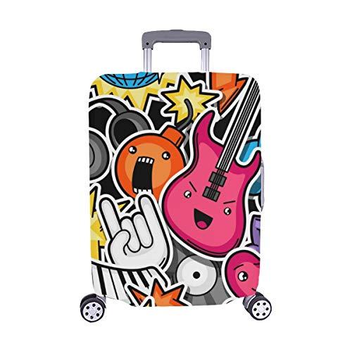 (Solo Cubrir) Music Party Kawaii Maleta de Viaje Musical Protector de Equipaje Maleta Cubierta Protectora para de Viaje 28.5 X 20.5 Inch