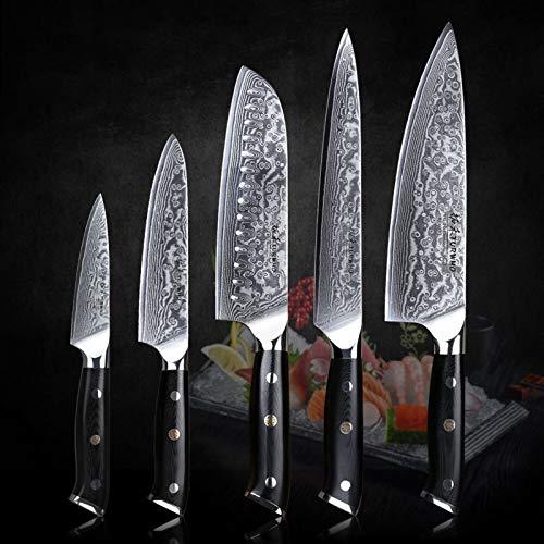 Küchenmesser Sets mit ausgezeichneter Akazie Holz/Messer Set Block Super Sharp Japaner Damaskus Stahlmesser Set (Color : Knife Set 5pcs 2)