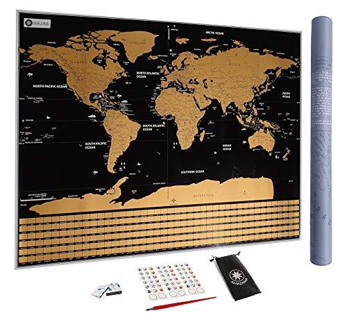 Carte du Monde à gratter XXL avec Drapeaux, détaillée et précise - Cadeau idéal pour les voyageurs - Poster Grand Format 82 x 59 cm. Stylo de grattage | Stickers | Belle pochette OFFERTS