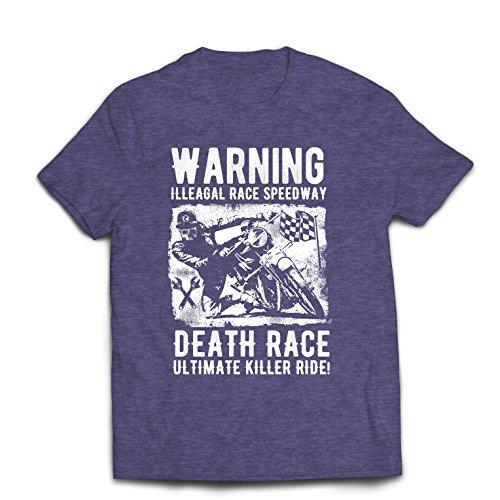 lepni.me Camisetas Hombre Carrera de la Muerte: Paseo definitivo, Carreras de Motos, Motorista de cráneo, clásico, Vintage, Moto Retro